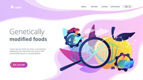 Genetically modified foods concept landing page. royalty free illustration