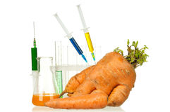 Genetically modified organism. Ripe carrot with syringes and laboratory glassware on white background Stock Photos