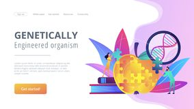 Genetically modified organism concept landing page. stock illustration