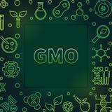 Genetically Modified Organism outline green vector frame. Genetically Modified Organism outline green frame. Vector GMO concept illustration on dark background stock illustration