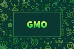 Genetically Modified Organism outline green vector frame. Genetically Modified Organism outline green frame - vector GMO concept illustration on dark background vector illustration