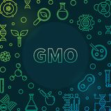 Genetically Modified Organism vector colorful outline frame. Genetically Modified Organism vector colorful outline concept frame or illustration on dark stock illustration