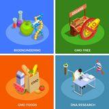 Genetically Modified Organisms Isometric Concept. Genetically modified organisms isometric design concept with bio engineering, dna research, gmo foods isolated Stock Photography