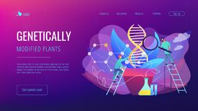 Genetically modified plants concept landing page. Scientists with magnifier looking at huge DNA in the pot. Genetically modified plants, GM crops and biotech vector illustration