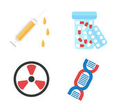 Genetically modified product icons vector. Biology icon set genetically modified product icons recycling chemical symbols. Dna science collection genetically Royalty Free Stock Photo