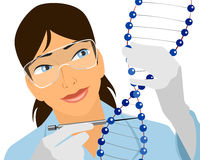 Geneticist with DNA molecule Royalty Free Stock Images