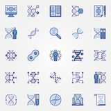 Genetics blue icons set - vector DNA concept symbols. Genetics blue icons set - vector Genetic Testing and DNA concept design elements or signs royalty free illustration