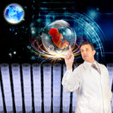 The genetics concept. Genetic engineering. Scientific innovative  research cloning Royalty Free Stock Photo