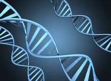 Genetics concept depicting magnified double helix DNA strands Stock Photos