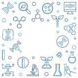 Genetics concept outline square frame. Vector illustration. Genetics concept square frame made with science outline icons. Vector illustration vector illustration