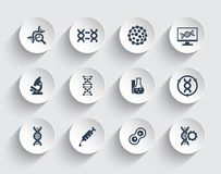 Genetics, dna chains, genetic modification. And research icons stock illustration