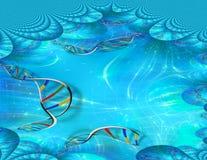 Genetics DNA. Strands fractal. 3D rendering royalty free illustration