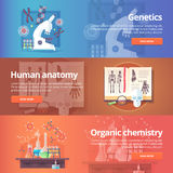 Genetics. Human genome. Human anatomy. Anatomical atlas. Organic chemistry. Biochemistry. Chemical laboratory. Science of life. Education and science banners Stock Photography