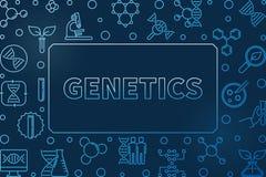 Genetics outline blue concept horizontal vector frame. Genetics outline blue concept horizontal vector illustration or frame on dark background royalty free illustration