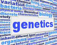 Genetics poster conceptual design. Biology science message conceptual background Royalty Free Stock Photos
