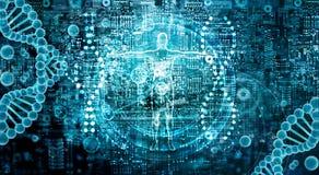 Genetisk forskning och Biotech vetenskapsbegrepp Tech för mänsklig biologi