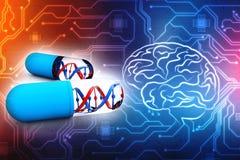 Genetisk medicin med DNA som isoleras i digital bakgrund 3d framför royaltyfri illustrationer