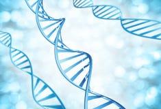 Genetyczni pasemka DNA molekuły powiększać fotografia stock