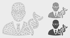 Genetyk siatki Drucianej ramy trójboka i modela mozaiki Wektorowa ikona ilustracji