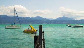Geneva湖在洛桑,瑞士 图库摄影