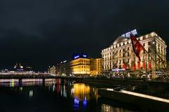 Geneva湖夜视图  图库摄影