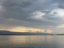 Geneva湖微明 免版税库存图片