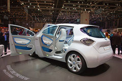 Geneva 81st International Motor Show. GENEVA - MARCH 8: The Renault Zoe concept car with electric engine and zero emission on display at the 81st International Stock Photo