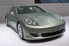 Geneva 81st International Motor Show. GENEVA - MARCH 8: The Porsche Panamera (Type number 970) with hybrid engine on display at the 81st International Motor Show Stock Photos