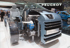 Geneva 81st International Motor Show. GENEVA - MARCH 8: New Peugeot HR4 with world first diesel hybrid engine at the 81st International Motor Show Palexpo-Geneva Royalty Free Stock Photography