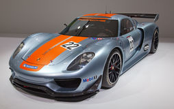 Geneva 81st International Motor Show. GENEVA - MARCH 8: The Porsche 918 RSR racing car on display at the 81st International Motor Show Palexpo-Geneva on March 8 Stock Photography