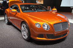 Geneva 81st International Motor Show. GENEVA - MARCH 8: The New Bentley Continental GT on display at the 81st International Motor Show Palexpo-Geneva on March 8 Stock Image