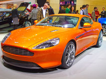 Geneva 81st International Motor Show. GENEVA - MARCH 8: The new Aston Martin Virage engine on display at the 81st International Motor Show Palexpo-Geneva on Stock Photography