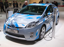 Geneva 81st International Motor Show. GENEVA - MARCH 8: The Toyota Prius Plug-in hybrid on display at the 81st International Motor Show Palexpo-Geneva on March 8 Royalty Free Stock Image