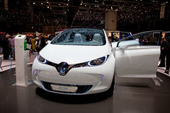 Geneva 81st International Motor Show. GENEVA - MARCH 8: The Renault Zoe Fully electric concept car on display at the 81st International Motor Show Palexpo-Geneva Stock Photography