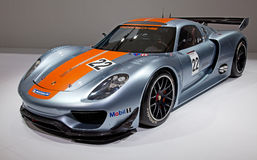 Geneva 81st International Motor Show. GENEVA - MARCH 8: The Porsche 918 RSR on display at the 81st International Motor Show Palexpo-Geneva on March 8; 2011  in Royalty Free Stock Images