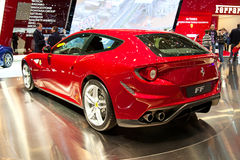Geneva 81st International Motor Show. GENEVA - MARCH 8: The Ferrari FF on display at the 81st International Motor Show Palexpo-Geneva on March 8; 2011  in Geneva Royalty Free Stock Photography