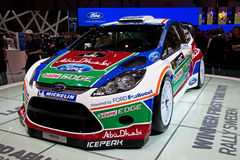 Geneva 81st International Motor Show. GENEVA - MARCH 8: The Ford Fiesta Rally on display at the 81st International Motor Show Palexpo-Geneva on March 8; 2011  in Royalty Free Stock Photography