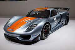 Geneva 81st International Motor Show. GENEVA - MARCH 8: The Porsche 918 RSR on display at the 81st International Motor Show Palexpo-Geneva on March 8; 2011  in Stock Images