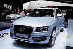 Geneva 81st International Motor Show. GENEVA - MARCH 8: Audi Q5 Hybrid on display at the 81st International Motor Show Palexpo-Geneva on March 8; 2011  in Geneva Stock Photography