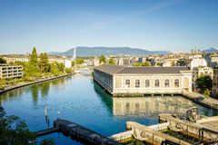 BFM, cathedral tower and Rhone river, Geneva Stock Image