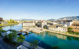 BFM, cathedral tower and Rhone river, Geneva Stock Photography