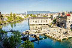 BFM, cathedral tower and Rhone river, Geneva  Stock Images