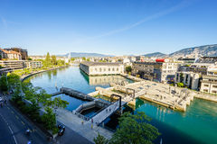 BFM, cathedral tower and Rhone river, Geneva  Royalty Free Stock Images