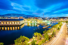 Geneva aerial at night, Switzerland Royalty Free Stock Photo