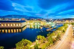 Geneva aerial at night, Switzerland Royalty Free Stock Photo