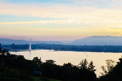 Geneva aerial, Switzerland. Aerial view of Geneva from the Collonge-Bellerive over the citys waterfronts on both sides of Rhone river as it flows out of Lake stock image