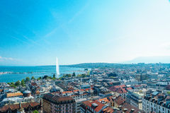 Geneva aerial, Switzerland. Aerial view of Geneva from the north tower of St-Pierre Cathedral over the citys waterfronts on both sides of Rhone river as it flows stock photo