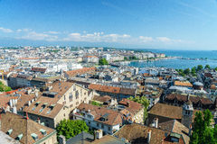 Geneva aerial, Switzerland. Aerial view of Geneva from the north tower of St-Pierre Cathedral over the citys waterfronts on both sides of Rhone river as it flows stock photography