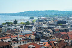 Geneva aerial, Switzerland. Aerial view of Geneva from the north tower of St-Pierre Cathedral over the citys waterfronts on both sides of Rhone river as it flows royalty free stock photography