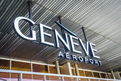 Geneva airport logo. Logotype of Geneva international airport. Cointrin Airport is the international airport of Geneva, Switzerland Stock Photos